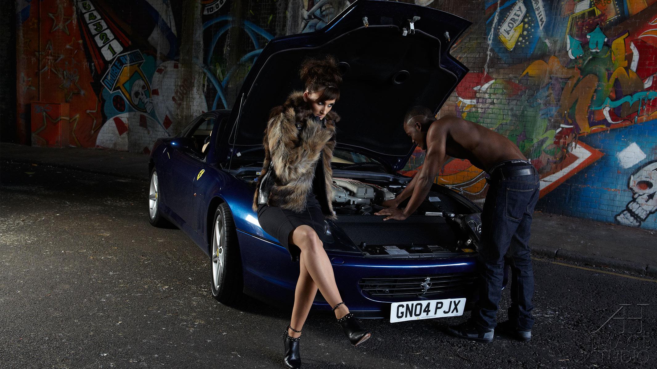 Ferrari photo shot interacial couple fashion lifestyle photography