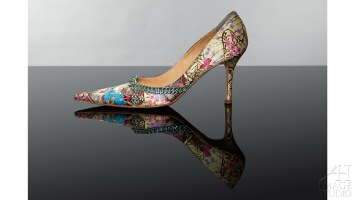 Gina Sergio Rossi shoes Swarowski crystal satin yellow cream